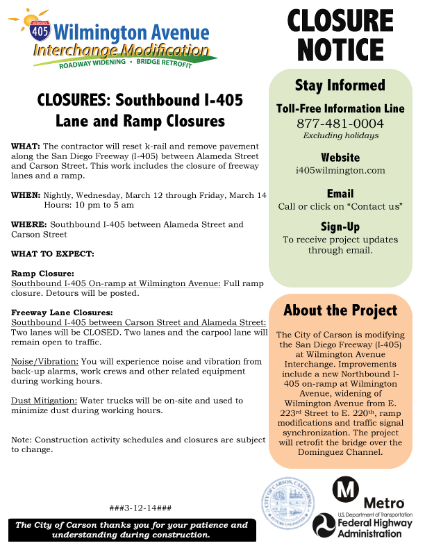 Microsoft Word - 3-12-14 to 3-15-14 Closure Notice for Lane and
